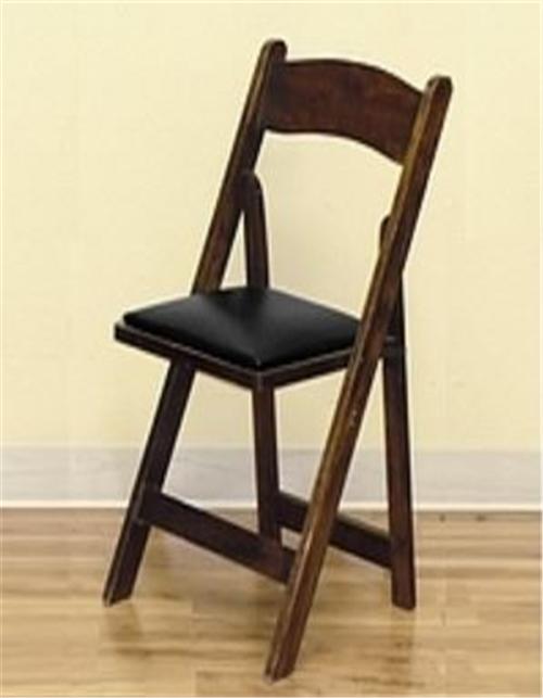 Folding Padded Wood Chair Fruitwood